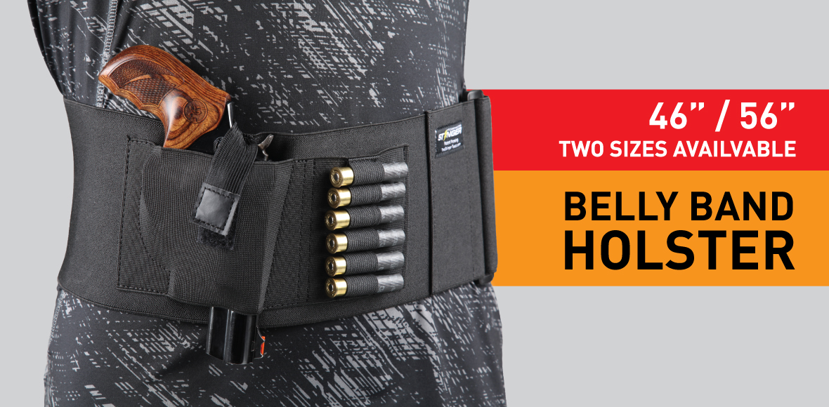 Stinger Belly Band Holster for Concealed Carry, IWB OWB Gun Holster, Most Comfortable Waistband Handgun Holster by Special Breathable Fabric, Pocket for Extra Round of Revolver Bullet