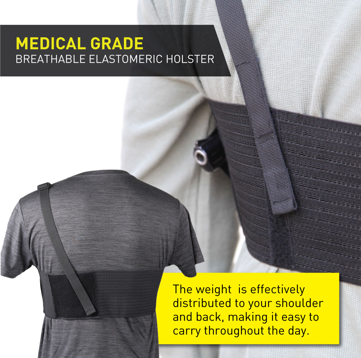 Stinger Premium Ultra Breathable Chest Band Holster for Concealed Carry, IWB OWB Gun Holster, Fabric Comfortable Waistband Handgun Holster, Ammo Bandolier for Extra Round of Revolver Bullet