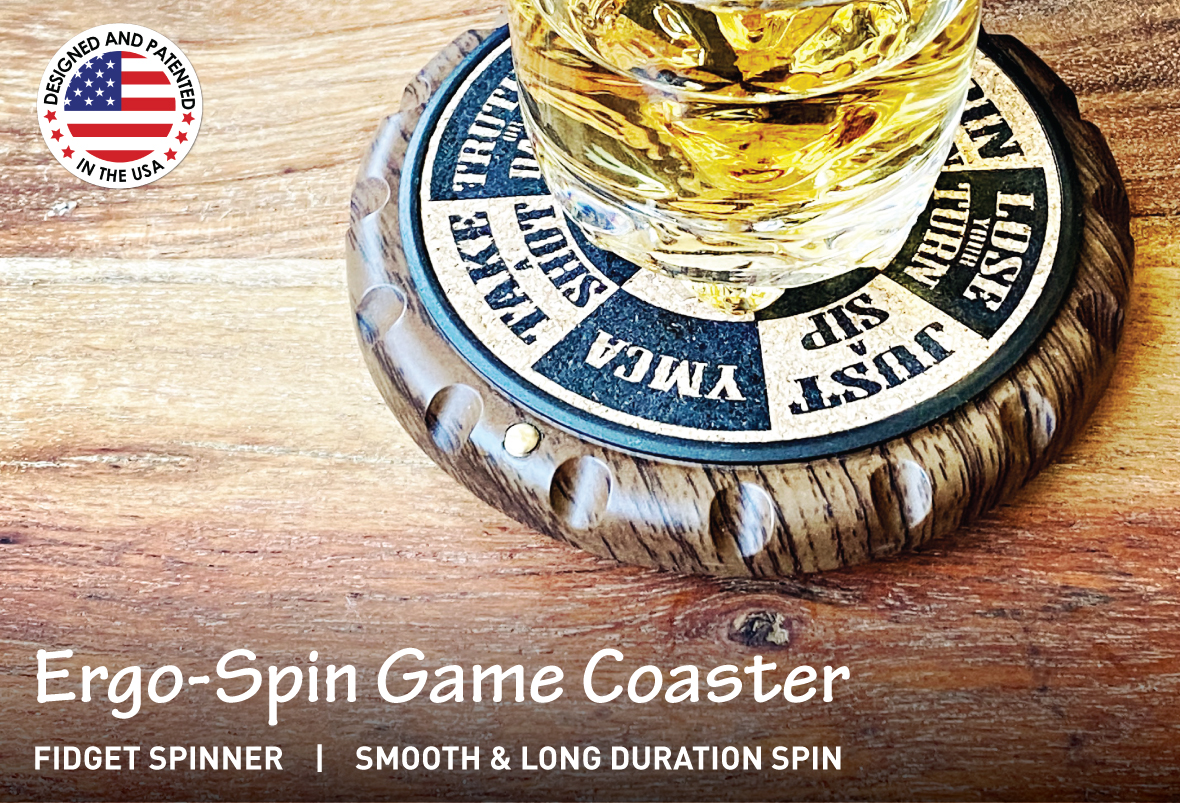 Ergospin Cork Drink Coaster with Fidget Spinner, 360 Degree Rotatable , Patented Unique Design, Great Gift Idea