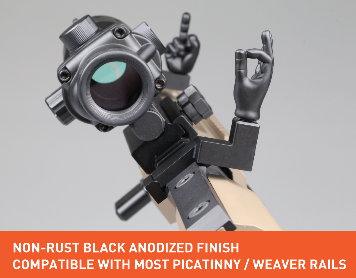 Stinger Novelty Finger Sights Set, Offset 45 Degree, OK Hand, Middle Finger, Flip Off, Backup Front and Rear Iron Sight BUIS Set, Fit Picatinny Rail and Weaver Rail, AR-15, Rifle