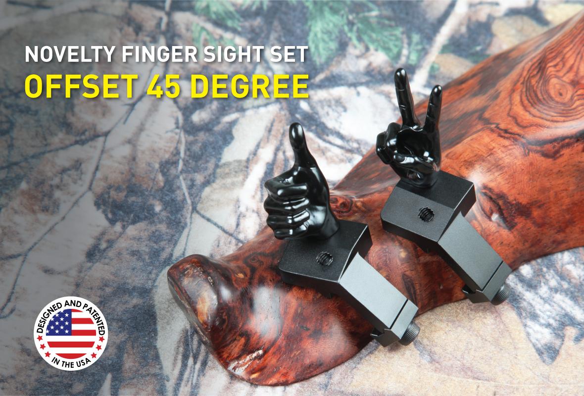 Stinger Novelty Finger Sights Set, Offset 45 Degree, V Hand, Thumbs Up, Flip Off, Backup Front and Rear Iron Sight BUIS Set