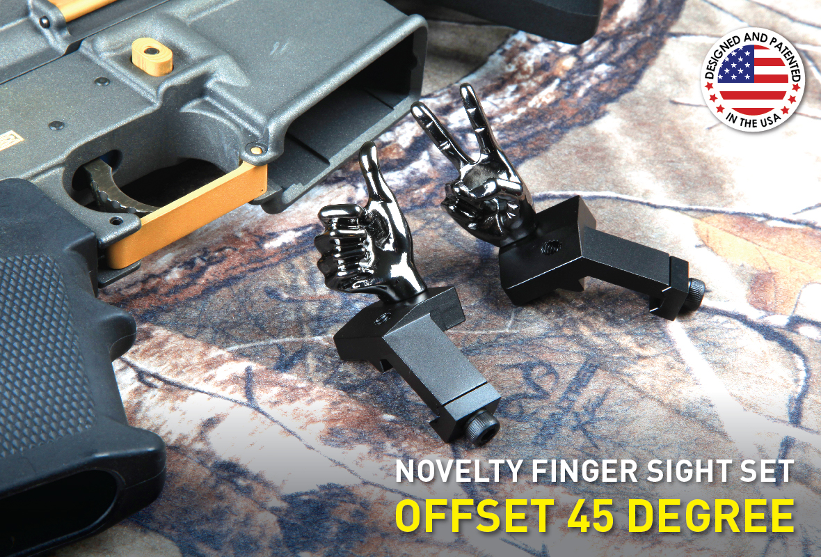 Stinger Novelty Finger Sights Set, Offset 45 Degree, V Hand, Thumbs Up, Flip Off, Backup Front and Rear Iron Sight BUIS Set