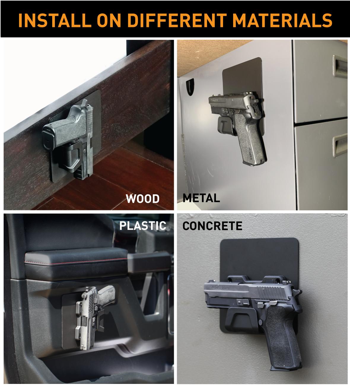 Stinger Magnetic Gun Mount with Safety Trigger Guard Protection, Wall Mounted Gun Rack, Firearm Concealed Holder for Handgun Rifle Shotgun Pistol Revolver, Car Storage, Desk Gun Holster (2 Pack)