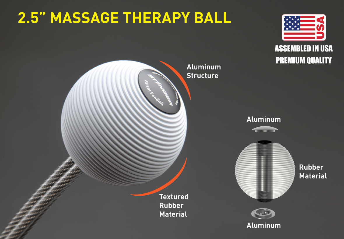 Stinger Therapy Massage Whip w/Massage Ball, Trigger Point Massage, Deep Tissue Massage, Fist Massage Hammer, Plantar Fasciitis