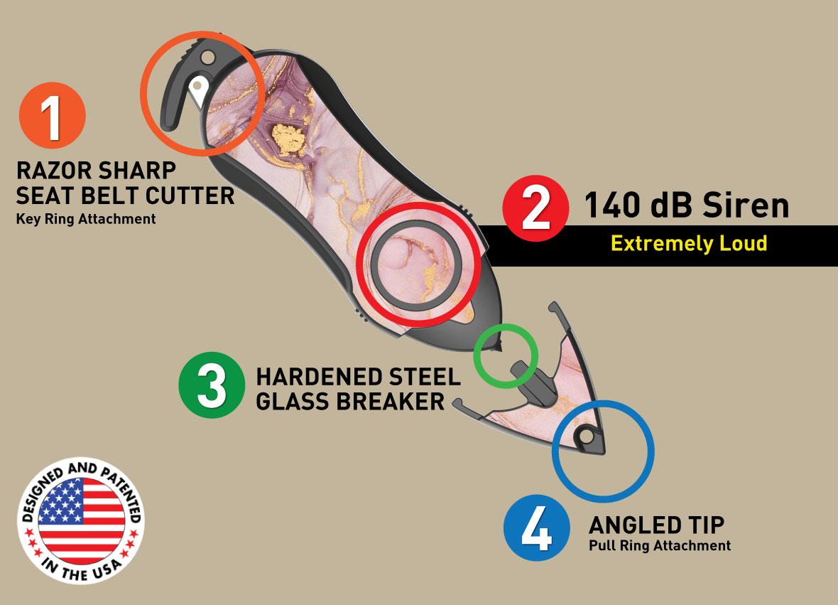 Stinger Personal Alarm Emergency Tool, Safety Alarm, Seat Belt Cutter, Glass Breaker, Original Design in USA