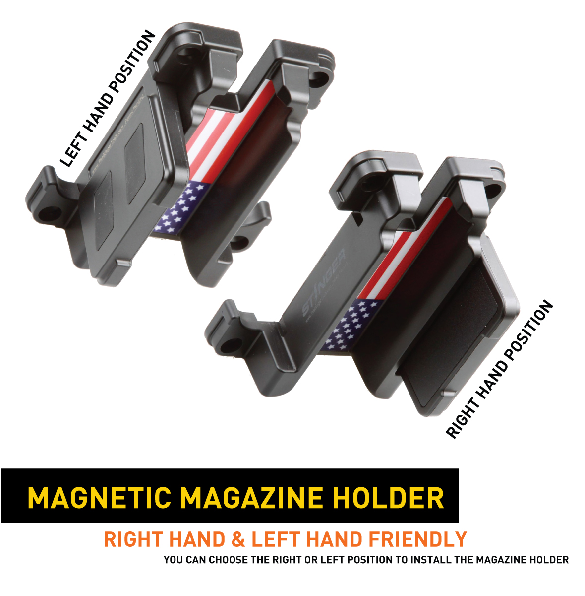 Stinger QUICK-LOAD Gun & Magazine Magnetic Holder Fits Most Semi-Auto Pistols for Left Hand and Right Hand