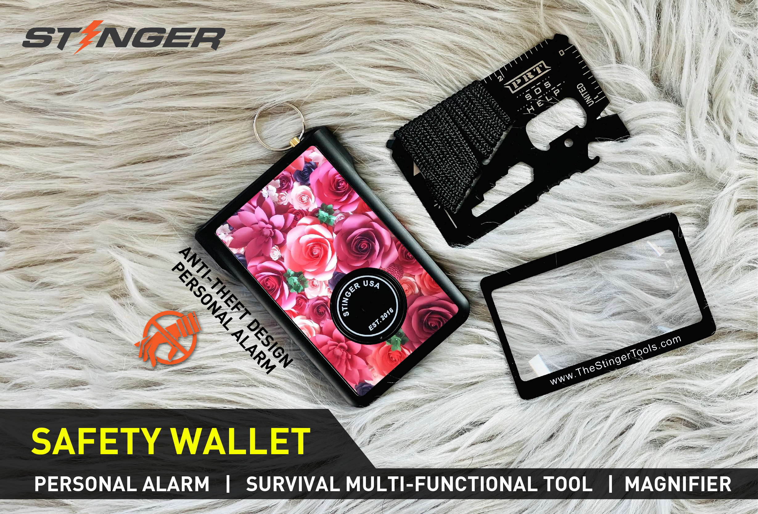 Stinger Safety Polymer Wallet with Personal Alarm Emergency Tool, Multi-functional Tool, and Magnifier, Original Design in USA