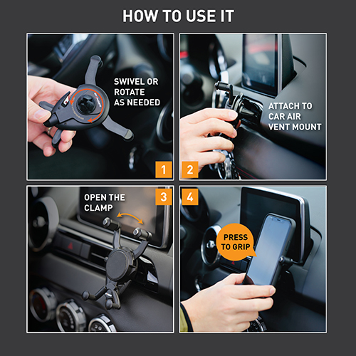 Ztylus Stinger Spider 3-in-1 Car Emergency Escape Tool, Air Vent Mount Phone Holder, Spring-Loaded Window Breaker Punch, Seat Belt Cutter, Multi Function Life-Saving Rescue, Designed in USA