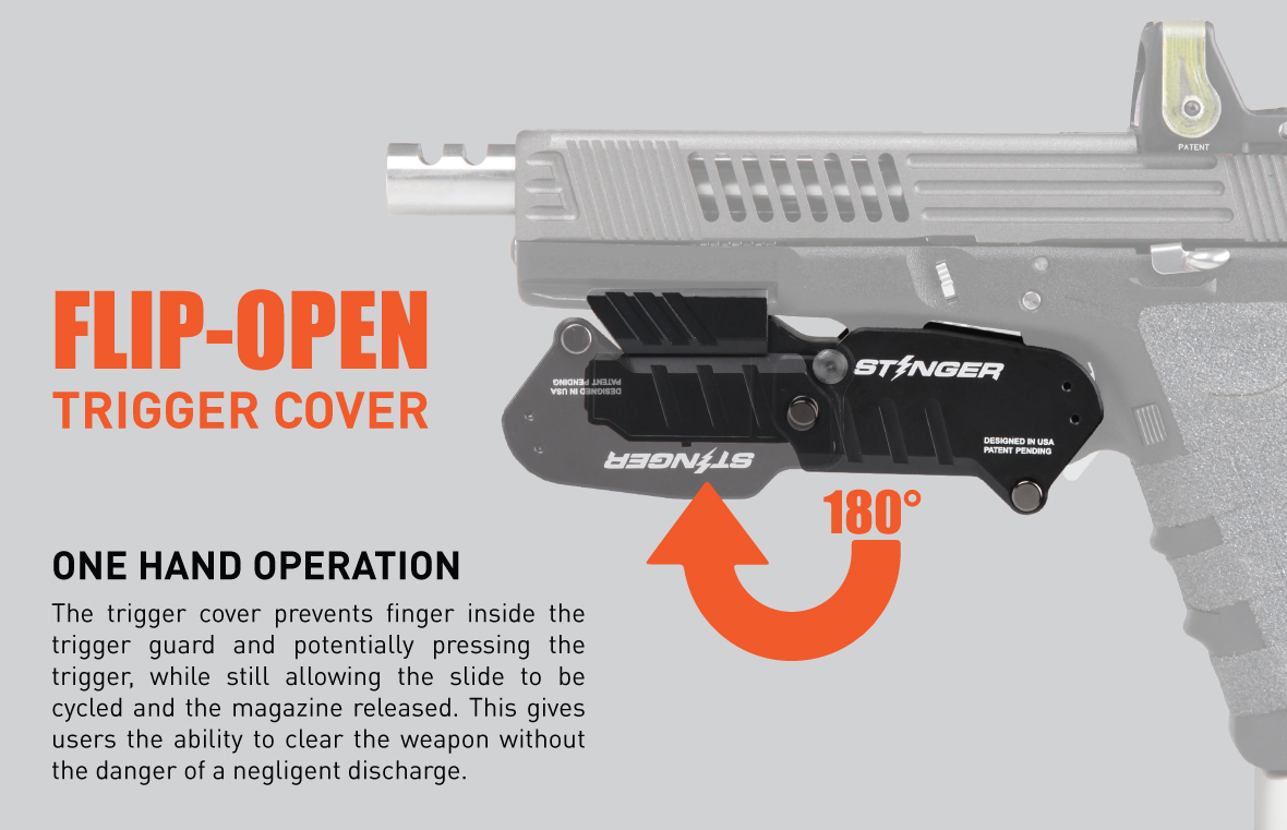 The trigger cover keeps your finger off the trigger, which prevents accidental discharge while allowing for the slide to be cycled and the magazine to be released. This gives users the ability to clear the weapon without the danger of a negligent discharge.