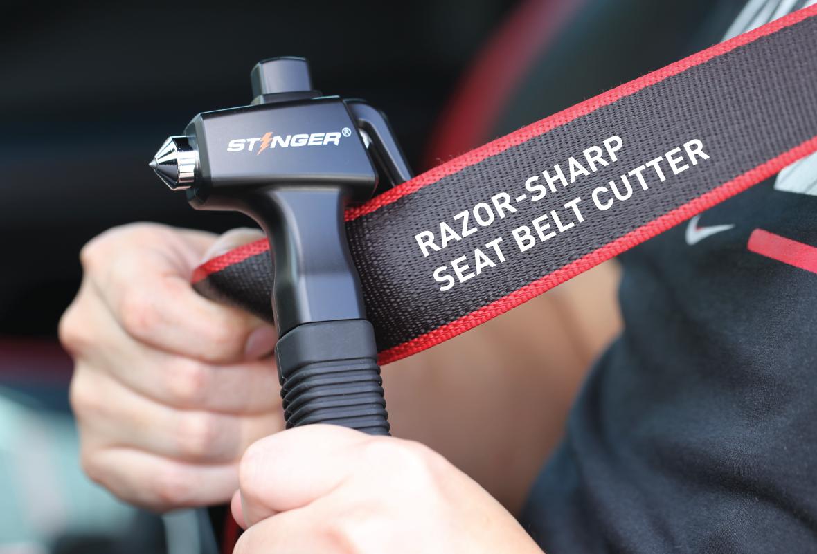 Stinger Ztylus Car Emergency Escape and Rescue Tool: Super Duty Vehicle Traditional Glass Hammer, Spring Loaded Window Breaker Punch, Razor Sharp Seatbelt Cutter