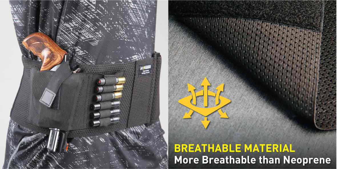 Stinger Premium Ultra Breathable Belly Band Holster for Concealed Carry, IWB OWB Gun Holster, Fabric Comfortable Waistband Handgun Holster, Ammo Bandolier for Extra Round of Revolver Bullet
